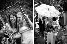 Bride and friend pose through a frame after her wedding at Alberton House, Mt Albert, Auckland. Black and white.  Grandmother leaves in her wheelchair carrying an umbrella. BeSo Studios create beguiling fine art family photographs for the walls of the most discerning clients homes. We specialise in wedding and family portrait photography, and supply prints on the highest quality media, framed in beautiful conservation standard frames. We are a high end studio located in the beautiful city of…