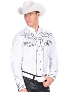 33791 Camisa Charra Caballero Montenegro, 55% Cotton 45%Polyester - White