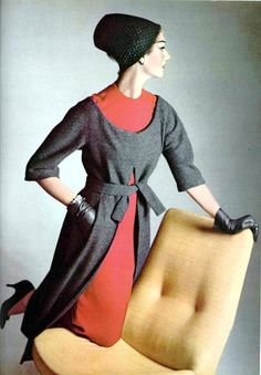 Simone D'Aillencourt is wearing dress and tunic by Jean Dèsses, hat by Claude St.Cyr, photo by Pottier, L'Officiel 1957