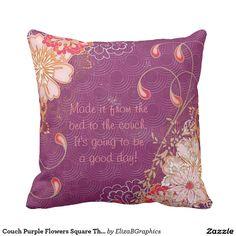 Couch Purple Flowers Square Throw Pillow  #pillow #fibromyalgia #purple #coffee