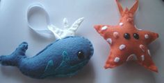 Ocean Animal Ornament Set Starfish and Whale by unpetitelapin. $11.00, via Etsy.