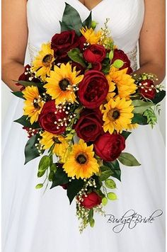 Cascading Fall Wedding Bouquet in Burgundy and S .- Cascade fall wedding bouquet in burgundy and sunflowers - Cascading Wedding Bouquets, Fall Wedding Bouquets, Fall Wedding Flowers, Bride Bouquets, Wedding Sunflowers, Sunflower Wedding Themes, Fall Bouquets, Spring Wedding, Wedding Dresses