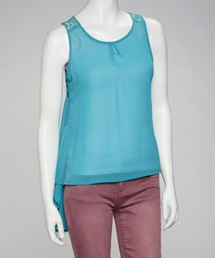 Take a look at this Teal Lace-Back Sidetail Top by Love Point on #zulily today! $16.99, regular 34.00