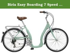 Biria Easy Boarding 7 Speed Step Through Cruiser Bicycle 15.5'' Aqua Green. Aluminum 7005 Frame, Hi-Ten unicrown fork,7-speed Shimano rear derailleur Shimano twist shifter, Kenda 26x1.75 tires, Front and rear aluminum v-brakes, Aluminum Adjustable stem, Comfortable Cruiser saddle, comes with front and rear fender and rear rack, Alloy kickstand, the manufacturer does not include assembly instructions with bicycle as they strongly prefer that the final assembly be completed by bike shop.