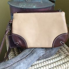 """LATICO Wallet/WRISTLET Light tan with brown leather...perfect condition/like new!!! 6 1/2"""" X 4 1/2"""" Latico Bags Clutches & Wristlets"""