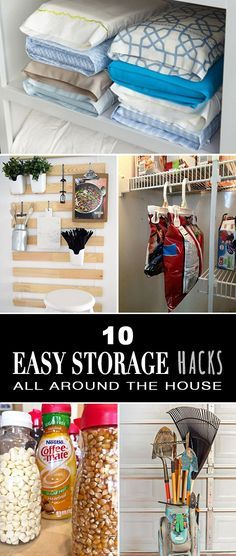 10 Easy Storage Hacks All Around the House • Easy and cheap storage and organizing ideas!