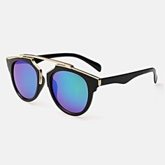 Gold Metal Bar Sunglasses - Luminous shades of blue glimmer underneath ornate gold rims, captivating each passerby which comes your way. These gorgeous mirrored sunglasses feature gold metal rims which emulate an ultra luxurious look, for less. #sunglasses