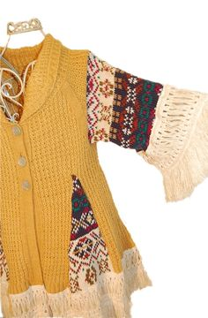 Hippie Bohemian Sweater Coat from Upcycled Sweaters