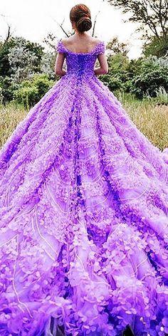 michael5inco purple wedding dress / http://www.himisspuff.com/colorful-non-white-wedding-dresses/7/