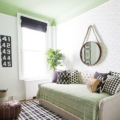 I spy a pop of Greenery, Pantone's 2017 Color of the Year, in this amazing mod nursery  Via @ResidentsUnderstood