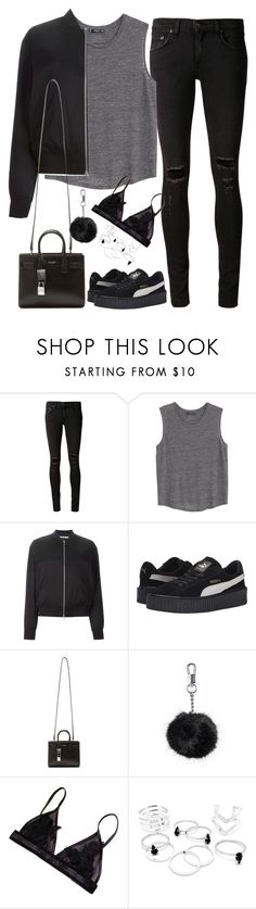 """Untitled#4090"" by fashionnfacts ❤ liked on Polyvore featuring rag & bone/JEAN, MANGO, T By Alexander Wang, Puma, Yves Saint Laurent, Topshop, women's clothing, women, female and woman"