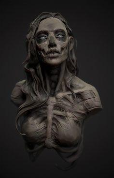 ArtStation - clay skull girl (Speed Sculpt Stream), Olya Anufrieva The topics within Your Requirement Arte Horror, Horror Art, Dark Fantasy Art, Dark Art, Arte Peculiar, Arte Robot, Zombie Art, Vampire, Creepy Art