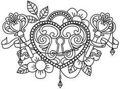51 Super Ideas Embroidery Heart Design Coloring Pages Coloring Pages For Grown Ups, Heart Coloring Pages, Printable Adult Coloring Pages, Coloring Pages To Print, Colouring Pages, Coloring Books, Locket Tattoos, Key Tattoos, Steampunk