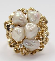 14k Yellow Gold Pearl and Diamond Nugget Style Ladies Ring