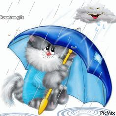 Cat with Umbrella PNG Free Clipart. It's raining pompoms from pompom shooters at kitty party. Illustration Mignonne, Cute Illustration, Cute Umbrellas, Art Mignon, Cat Clipart, Frida Art, Image Chat, Silly Cats, Cat Paws