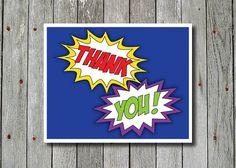 Superhero Thank You Card  You Print by PicklePotamusPress on Etsy, $5.00