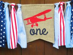 Airplane Birthday Banner Highchair High Chair by SeacliffeCottage
