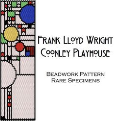 Frank Lloyd Wright Coonley Playhouse Stained Glass Window Peyote Stitch Beadwork Pattern - Cuff Bracelet - Bookmark - PDF instant download