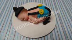 Baby Boy in Blue Diaper wirh Mouse Ears hat ready to party! Any color diaper, red, blue, black. Cake decorations for baby shower or birthday