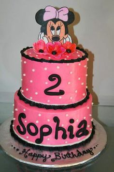 I love Minnie Mouse 2 Birthday Cake, Girl 2nd Birthday, First Birthday Parties, Birthday Celebration, First Birthdays, Cupcakes, Cupcake Cakes, Second Birthday Ideas, Mickey Mouse