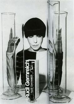 everything about this is perfect! LOVE rudi gernreich, LOVE peggy moffitt (sometimes), and especially love the big creepy graduated cylinders.