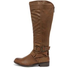 Madden Girl Corporel Cognac Brown Knee-High Boots ($79) ❤ liked on Polyvore featuring shoes, boots, brown, knee-high boots, chukka boots, back zipper boots, brown knee boots, rubber sole boots and cognac boots