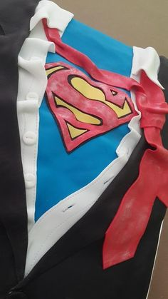 Superman cake with muscles shirt tie jacket Superman Cakes, Muscle Shirts, How To Make Cake, Muscles, Cheer Skirts, Tie, Jackets, Fashion, Down Jackets
