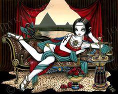 Egyptian Goddess Mayet Fairy Cat Myka Limited Edition CANVAS Embellished 8x10 #PopArt