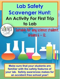 Lab Safety Scavenger Hunt: Safety Activity for First Visit Science Student, Middle School Science, Elementary Science, Science Classroom, Teaching Science, Science Education, Physical Science, Upper Elementary, Teaching Resources