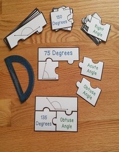 Angle Measurement Puzzles are a valuable asset to any 4th grade classroom. This is a great resource for review, math centers, group work and for interventions. For these puzzles, measure the angle with a protractor to find the degrees of the angle and then determine if it is an acute, right, obtuse or straight angle. Your students will love learning about measuring angles!