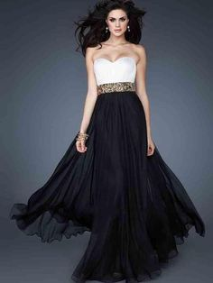 A-line Sweetheart Chiffon Black Long Prom Dresses/Evening Dress With Beading #FC077