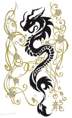 Dragon and golden vines....there is a good idea hidden within this one
