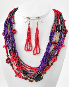 Copper Tone / Multi Color Acrylic Seed Beads / Lead Compliant / Multi Strand Necklace & Fish Hook Earring Set