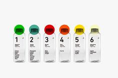 J+ on Behance, very minimalist design with only the typography and use of numbers standing out against the clear bottle. This is meant to give the viewer a sense of purity and detoxing. Only the numbers indicate the different flavours which make it difficult to differentiate between bottles