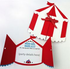 Circus Tent invitation folder. Circus, carnival birthday party. Customised text. | My Paper Planet | madeit.com.au