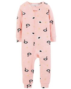 With just one zip, she's ready for bed in no time! And, with a footless design, her little feet will stay cool all night long. Carter's cotton PJs are not flame resistant. But don't worry! They're designed with a snug and stretchy fit for safety and comfort Baby Girl Pajamas, Carters Baby Girl, Baby Girl Gifts, Toddler Girl, Cotton Pjs, Girl Outfits, Cute Outfits, Ariana, Baby Month By Month