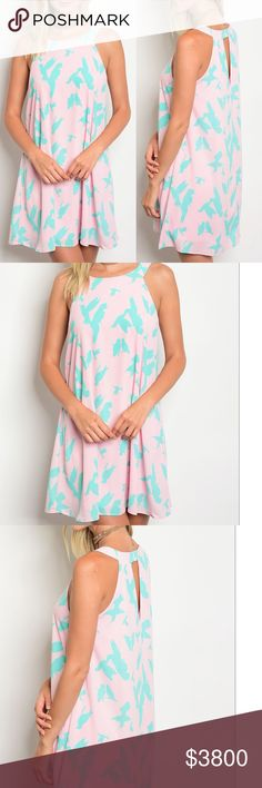 Coming! Pink & Aqua Print Swing Dress Keyhole Back Pink & Aqua Print Swing Dress with a Keyhole Back. Made in the USA. Fabric is 100% Polyester that's comfy and lightweight. Price is firm unless bundled. No trades. GlamVault Dresses