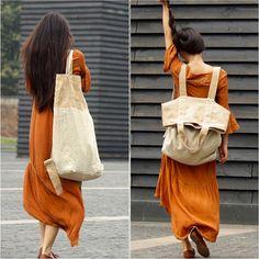 Urban Unisex 2 ways Backpack & Tote Bag - Linen