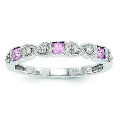 14k White Gold Diamond & Pink Sapphire Ring Y6540SP/A