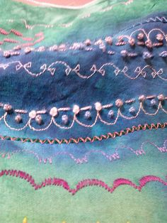 Stupendous Stitching detail - sewing machine and hand embroidery.  CAM00080 by jplier, via Flickr, Jackie Plier