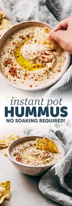 Instant Pot Hummus - learn how to make the smoothest, creamiest hummus, at home! It's so easy and you can freeze it too! #instantpothummus #pressurecookerrecipes #instantpotrecipes #hummus #homemadehummus | Littlespicejar.com