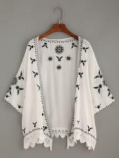 White Scalloped Crochet Trimmed Embroidered Kimono.