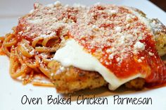 Healthier Oven Baked Chicken Parmesan is a lower in fat twist on everyone's favorite Italian Classic! This version is the best!