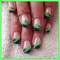 Bright Green With Black von TraiSeasEscape - Nail Art Gallery nailartgallery. Green Nail Designs, French Nail Designs, Nail Art Designs, Summer French Nails, French Tip Nails, French Tips, Cute Nails, Pretty Nails, Seahawks Nails