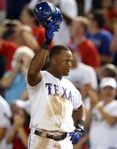Adrian Beltre | acknowledges the crowd after hitting for the cycle on August 24, 2012 | 3B | Texas Rangers