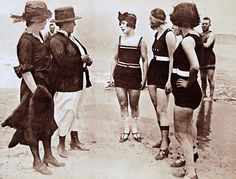 More From The League Against IndecentBathing - n some areas of the United States of America in the early 1900s, women were expected to wear cumbersome dress and pantaloon combinations when swimming. In 1907, Annette Kellerman, an Australian swimmer, was arrested on a Boston beach for public indecency for wearing her trademark one-piece swimsuit.     After a public outcry at the arrest, the style had become generally acceptable by the 1910s.