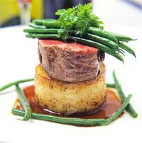 Fine Dining Plate Presentation | ... beef with potato and Madeira sauce fine green beans on a white