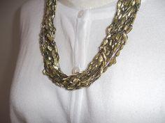 Gold Ribbon Lace Necklace Crochet  Necklace  by DelsYarnBasket