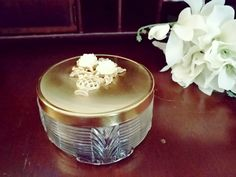 Art Deco Glass Footed Trinket Jar Powder Jar with Brass Lid Embellished with Floral Vase by VintageEves on Etsy