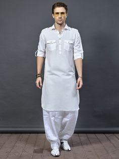 White cotton fabric pathani suit - G3-MPS0496   G3fashion.com
